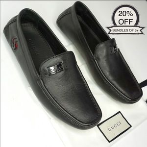 Gucci Black Leather Driving Loafers Men's Size 9